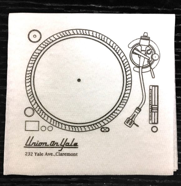 """Union on Yale"" custom paper linen napkin, depiction of a record player"