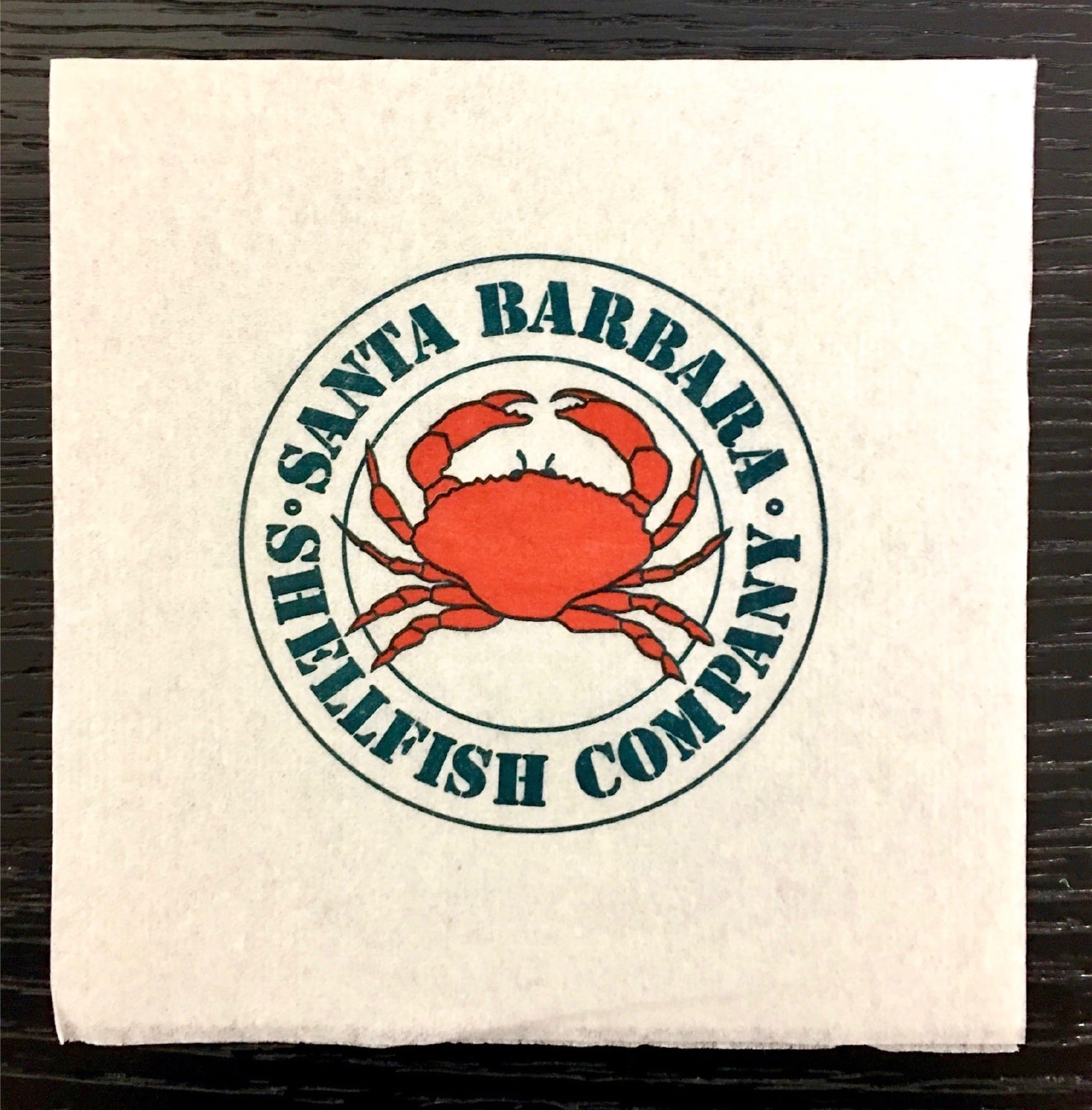 Santa Barbara Shellfish Company, 2 color custom napkin for foodservice industry