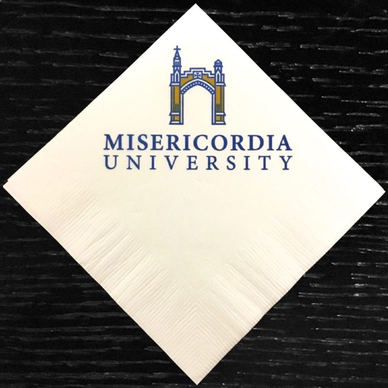 """Misericordia University"" blue and yellow custom beverage napkin"
