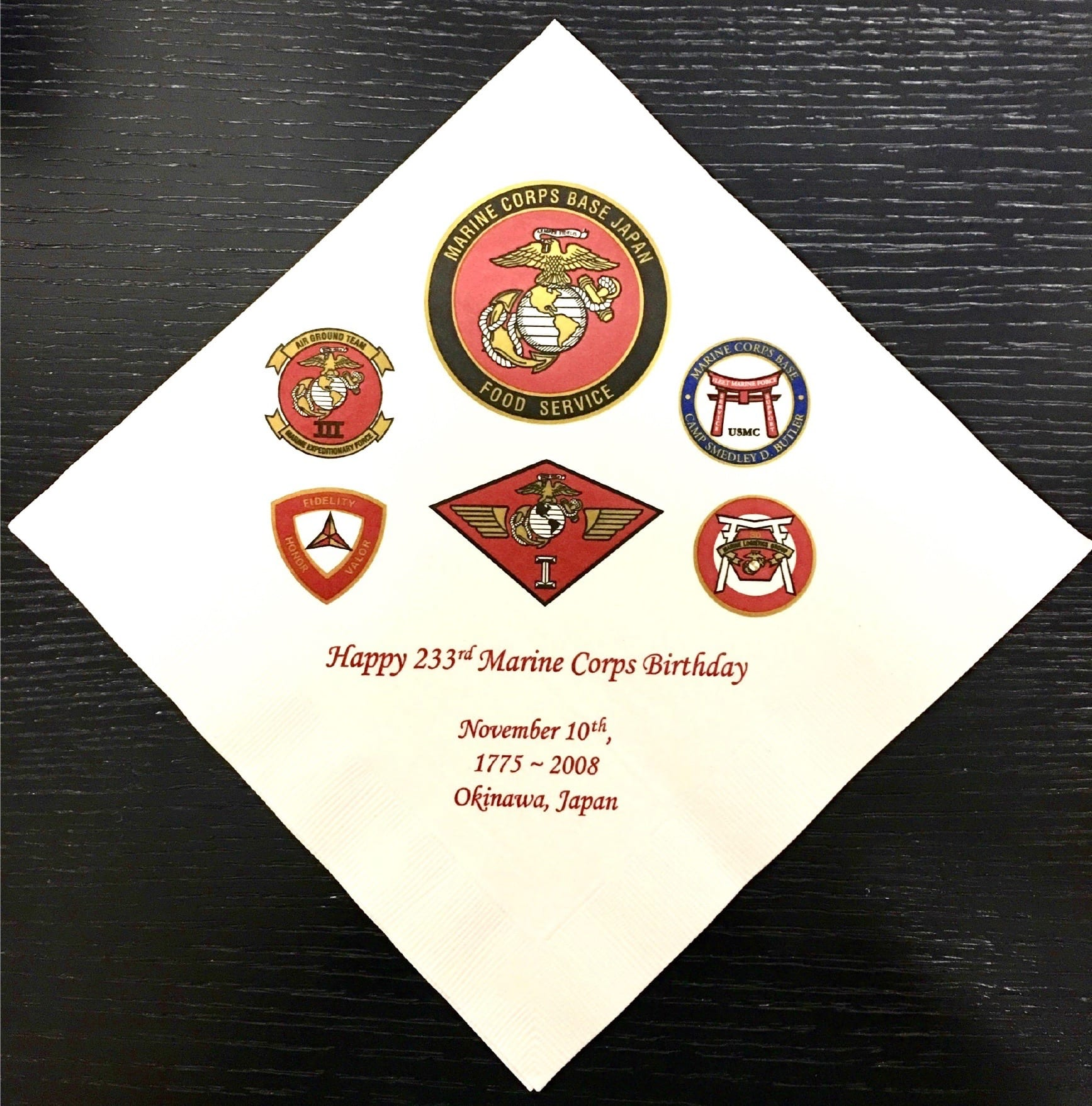 Marine Corps Event, 4 colors on square dinner napkin